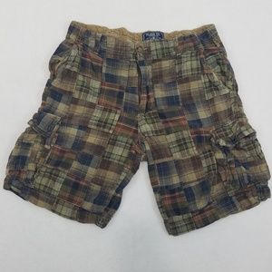 Mens plaid cargo shorts.